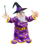 Cartoon Wizard. Illustration of a happy cartoon wizard character holding a wand and giving a thumbs up Stock Photos