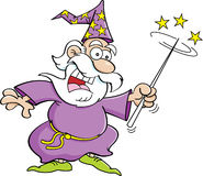 Cartoon wizard. Cartoon illustration of a wizard with a magic wand Royalty Free Stock Image