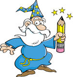 Cartoon Wizard with a Pencil. Cartoon illustration of a wizard holding a pencil Royalty Free Stock Photo