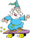 Cartoon wizard riding a skateboard Royalty Free Stock Images
