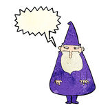 Cartoon wizard with speech bubble Stock Images