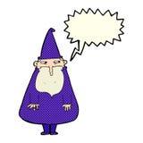 Cartoon wizard with speech bubble Royalty Free Stock Photography