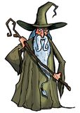 Cartoon Wizard with staff Royalty Free Stock Photos