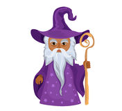 Cartoon Wizard with staff. Isolated on white background. Stock Photo