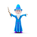 Cartoon Wizard with staff. Isolated on white 3D Illustration Stock Photos