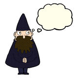 Cartoon wizard with thought bubble Royalty Free Stock Photography