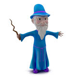 Cartoon Wizard on White Background Stock Photography