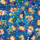Cartoon Wizard and Witch magic seamless pattern Royalty Free Stock Photo