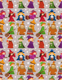 Cartoon Wizard and Witch magic seamless pattern Royalty Free Stock Photography