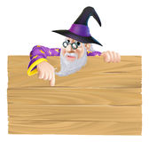 Cartoon Wizard Wooden Sign Royalty Free Stock Image