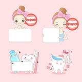 Cartoon woamn with teeth. On pink background Royalty Free Stock Image