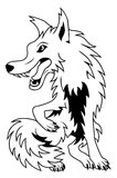Cartoon Wolf. Black and white vector cartoon wolf Royalty Free Stock Photos