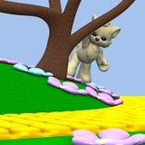 Cartoon wolf behind tree stock image