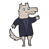 Cartoon wolf businessman Stock Images