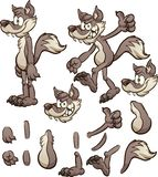 Cartoon wolf or coyote character with different body pats. Vector clip art illustration with simple gradients. Some elements on separate layers stock illustration