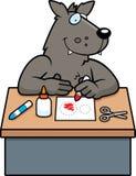 Cartoon Wolf Crafts. A cartoon illustration of a wolf doing arts and crafts vector illustration