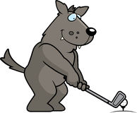 Cartoon Wolf Golfing Royalty Free Stock Photo