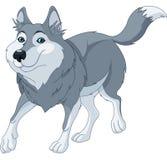 Cartoon wolf. Illustration o cute cartoon wolf running vector illustration