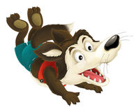Cartoon wolf jumping. Happy and funny traditional illustration for children - scene for different usage stock illustration