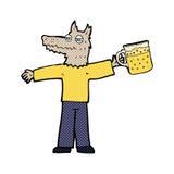 Cartoon wolf man drinking beer Stock Photo