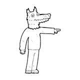 Cartoon wolf man pointing Stock Image