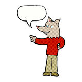 Cartoon wolf man pointing with speech bubble Stock Photos