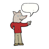 Cartoon wolf man pointing with speech bubble Stock Photo