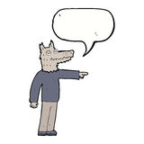 Cartoon wolf man pointing with speech bubble Stock Image