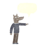 Cartoon wolf man pointing with speech bubble Royalty Free Stock Image