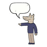 Cartoon wolf man pointing with speech bubble Royalty Free Stock Photo