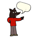 Cartoon wolf man pointing with speech bubble Royalty Free Stock Photography