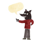 Cartoon wolf man pointing with speech bubble Royalty Free Stock Photos