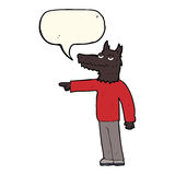 Cartoon wolf man pointing with speech bubble Stock Images
