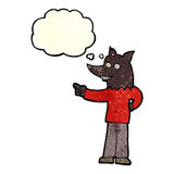 Cartoon wolf man pointing with thought bubble Stock Photography