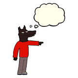 Cartoon wolf man pointing with thought bubble Royalty Free Stock Photography