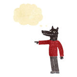 Cartoon wolf man pointing with thought bubble Royalty Free Stock Photos