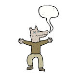 Cartoon wolf man with speech bubble Royalty Free Stock Images