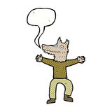Cartoon wolf man with speech bubble Stock Photo