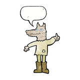 Cartoon wolf man with speech bubble Royalty Free Stock Photos