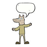 Cartoon wolf man with speech bubble Royalty Free Stock Photography
