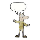Cartoon wolf man with speech bubble Stock Image