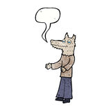 Cartoon wolf man with speech bubble Stock Photography