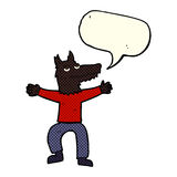 Cartoon wolf man with speech bubble Royalty Free Stock Photo
