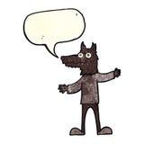 Cartoon wolf man with speech bubble Stock Photography
