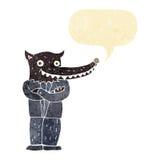 Cartoon wolf man with speech bubble Stock Photos