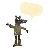 Cartoon wolf man with speech bubble Royalty Free Stock Image