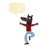 Cartoon wolf man with speech bubble Stock Image