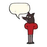 Cartoon wolf man with speech bubble Royalty Free Stock Photo
