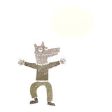 Cartoon wolf man with thought bubble Stock Images