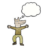 Cartoon wolf man with thought bubble Royalty Free Stock Images